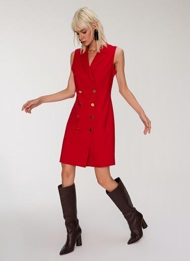 People By Fabrika Ceket Yaka Elbise Kırmızı